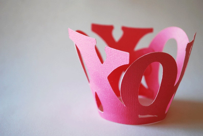 Valentines Day XOXO Cupcake Wrappers In Your Choice of Color image 0
