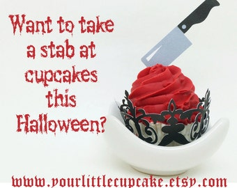 Knife and Axe Cupcake Toppers In Your Choice of Color Qty 12