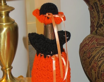 Wine Bottle Cover - Dress Hat - Orange Black - Wine Bottle Gift Wrap - Table Decoration - Wedding - Sports Team - Made Ohio USA Item 3005