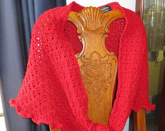 New Triangle Lace Shawl - Red Hand Crochet - Soft Non-Allergic Washable Acrylic Yarn One Size Fits Most - Designed Made Ohio USA Item 5103