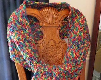 "Hand Crochet Scarf 68"" x 9.5"" plus 5"" Fringe - Brighten Any Coat, Sweater, Dress - Shoulder, Neck, Head Scarf - Designed Made USA Item 5023"