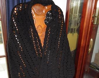 """New Black Lace Shawl - Generous 76"""" x 18"""" Plus 4"""" Fringe - Holiday, Formal or Casual, Wedding - Designed Hand Crochet Ohio USA Item 5280"""