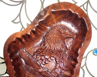 """American Eagle 3 Dimensional Engraved Heavy Walnut Wood Art - Approx 15.56"""" x 11 """"x 2"""" - Hand Crafted USA Item 5331"""