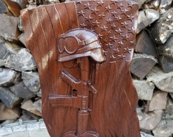 """Tribute to The Fallen - 3 Dimensional Engraved Walnut Wood Wall or Table Decor - 11""""x9""""x0.75"""" Hand Crafted Ohio USA Item 5492"""