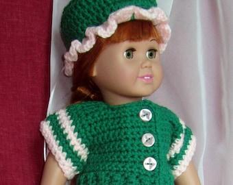 18 Inch Doll Sunday Brunch At Grandma's Sweater Skirt Hat - New 3 Piece Doll Set - Original Hand Crochet Knit Designed Made in USA Item 3055