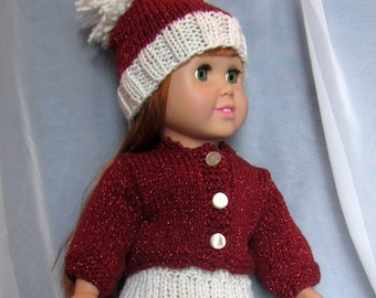18 Inch Doll Sweater Hat Skirt Red White - New Girl Doll Clothes - Christmas Valentine Doll Outfit - Designed Hand Made Ohio USA Item 3066