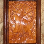 "Wall Decor Vikings at the Roots of Family Tree - Cherry and Walnut Woods 3 Dimension Engraved - Approx 8.5""x13.5""x.75"" - Made USA Item 5178"