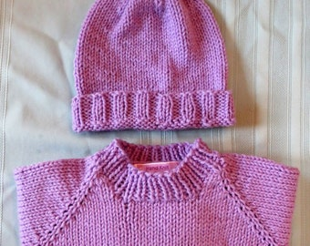 New Sweater Hat Set - Six Month Baby Hand Knit Lavender - New Baby Shower Gift - Hand Made in USA Item 5487