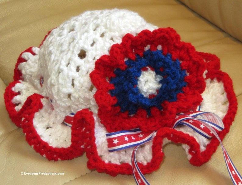 Adjustable Ribbon Bow Red White Blue Designed and Hand Crocheted in USA Item 4530 Baby Toddler Patriotic Bonnet Hat 9 Months-4 Years