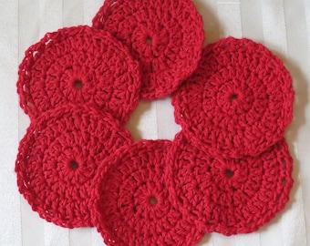 "Crochet Washable Drink Coasters - Red - 4.5"" Set of Six - Scalloped Edge - Table Car Boat - Designed Hand Hamde Ohio USA Item 5627"