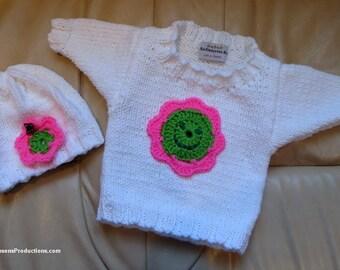 New Sweater Hat Set - Premie Newborn Hand Knit Original Zero to 3 Months - Pink Green Happy Flower Butterfly - Designed Made USA Item 4375