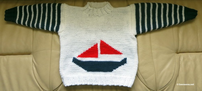 New My Little Sailboat Hand Knit Nautical Sweater  Child Size image 0