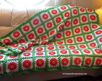 """New Large Afghan Blanket - Green White Orange Cheerful Bright and Beautiful - Bed Couch Recliner - 64""""x52"""" - Hand Crochet USA Item 4503"""