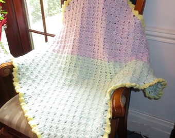 New Baby Blanket - Super Soft and Warm Pastels - Homecoming - Carriage Stroller - Baby Shower - Car Seat - Designed Hand Made USA Item 5617