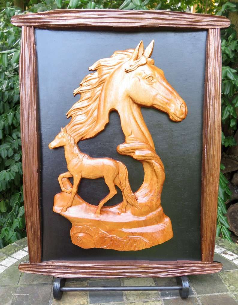 Equestrian Wood Art  Mahogany and Walnut Wood 3 Dimensional image 0