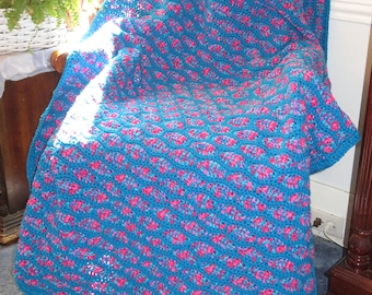 """New Afghan Blanket - Turquoise and Pink Reversible Design Elegant Bed Recliner Couch - 52""""x45"""" - Hand Crocheted Ohio USA Item 5610"""