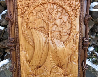 """Vikings at the Roots of Family Tree - Cherry and Walnut Woods 3D Engraved Wall Decor - Approx. 16.70""""x12.125""""x1.0"""" - Made Ohio USA Item 5510"""