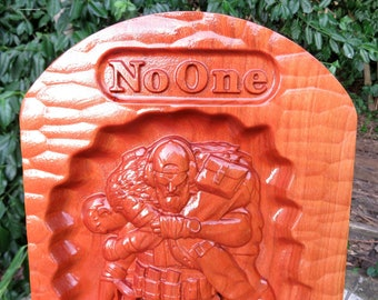 """No One Left Behind - 3 Dimensional Engraved Cherry Wood Wall Decor - 16.375x8.5x0.94"""" Hand Crafted Ohio USA Item 5419"""