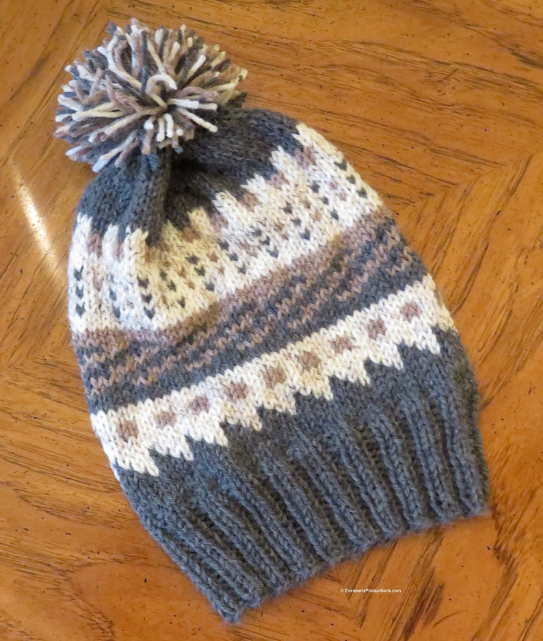 Nordic Hand Knit Intarsia Hat  Gray Tan White Wool Blend  image 0