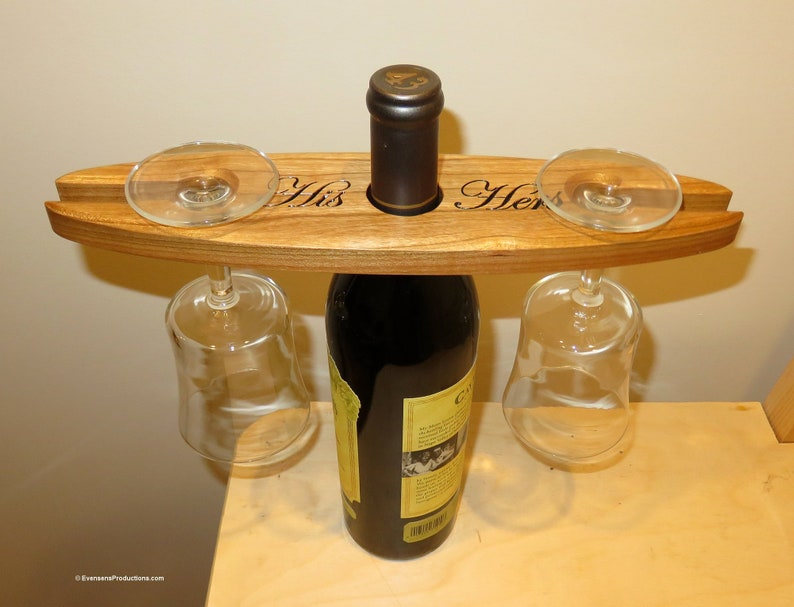 Wine Bottle and Glass Holder  His Hers Engraved Cherry Wood  image 0