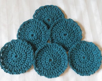 "Crochet Washable Drink Coasters - Teal - 4.5"" Set of Six - Scalloped Edge - Table Car Boat - Designed Hand Hamde Ohio USA Item 5629"