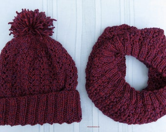 Knit Hat and Cowl Set Red Purple Tweed - Unisex Soft Filigree Lace Infinity Cowl Hood and Matching Pom Pom Hat - Hand Made USA Item 5381