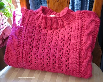 """New Sweater Fits 34-38"""" Chest - Pink Hand Knit Cables and Filigree Lace Unisex Jumper - Designed Made Ohio USA Item 4874"""