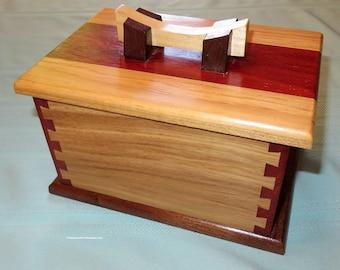 Hand Crafted Hardwood Box - Elegant Three Piece Unisex Jewelry Box - Heirloom Wedding Fifth Anniversary Retirement - Made USA Item 4910
