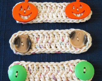Three Crochet Ear Savers for Face Masks with Elastic Loops - Cream with Buttons - Relieves Pressure on Ears - Made USA Item 5441