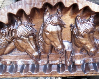 """Three Horses Engraved in Heavy Walnut Wood - Approx 11.5"""" x 20"""" x 1.75"""" - Wall or Table Art - Hand Crafted in Ohio USA Item 5493"""