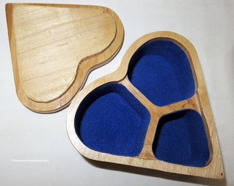 Maple Hickory Hand Crafted Heart Shaped Scroll Saw Box - Unisex Wedding Engagement Ring Earrings Locket Cuff Links - Hand Made USA Item 4889