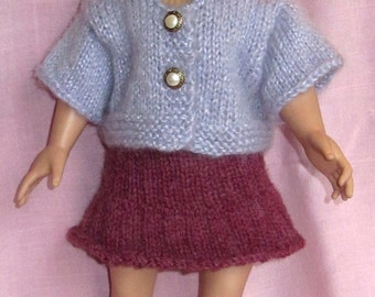 18 Inch Doll Sweater Skirt New Set - Short Sleeve Mohair Sweater Skirt Lavender Rose Outfit - Pre Teen Gift - Designed Made USA Item 3061