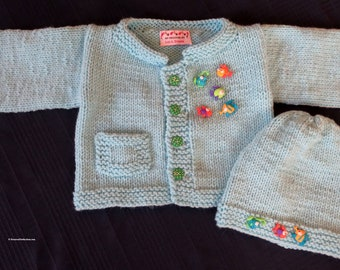 New Baby School of Fish Sweater Jacket and Hat - 9 to 12 Months Cardigan Sweater Set - Baby Shower - Designed Hand Made Ohio USA Item 5613