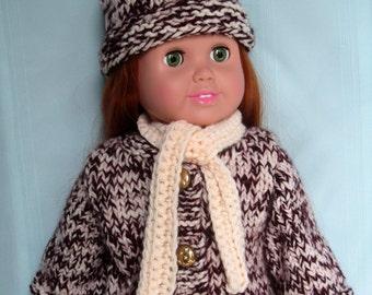 18 Inch Doll Brown Cream Tweed Coat Hat Mittens Scarf - Original Hand Knit - Winter Doll Coat Set - Pre Teen - Designed Made USA Item G103