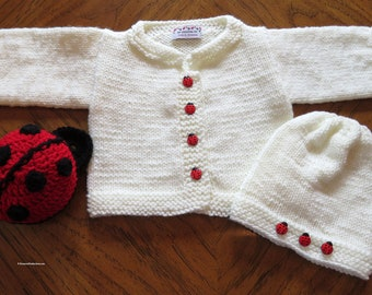New Lady Bug Baby Sweater Jacket Hat Toy - 9 to 12 Months Cardigan Sweater Set - Baby Shower - Designed Hand Made in Ohio USA Item 5611