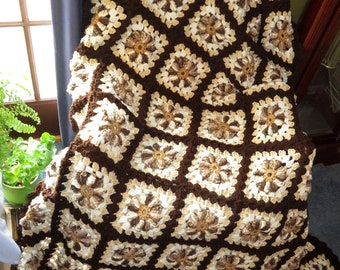 """New Large Afghan Blanket - Warm Browns - Vanilla Chocolate Swirl Comfort - Couch Bed Dorm Room Wedding Size 74""""x 60"""" - Made USA Item 5566"""