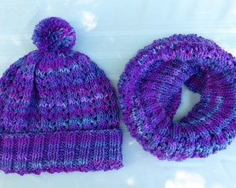 Knit Hat and Cowl Set Purple Magenta Blue - Unisex Soft Filigree Lace Infinity Cowl Hood and Matching Pom Pom Hat - Hand Made USA Item 5506