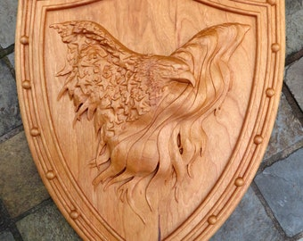 """American Eagle Shield Plaque 3 Dimensional Engraved Cherry Wood Wall Art - Approx 13.0""""x10.0""""x0.90"""" - Hand Crafted USA Item 5327"""