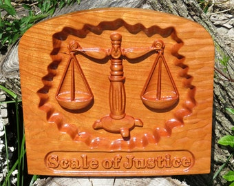 """Scale of Justice - 3D Engraved Cherry Wood Wall Decor - Law Office Decor - Juris Doctorate Gift - 9.5x8.5x0.94"""" - Hand Made USA Item 5415"""