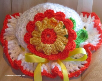 Baby Toddler Bonnet Hat - 9 Months to 4 Years - White Yellow Orange - Flowers, Butterfly, Ribbon Bow - Hand Crocheted - USA Made - Item 4528