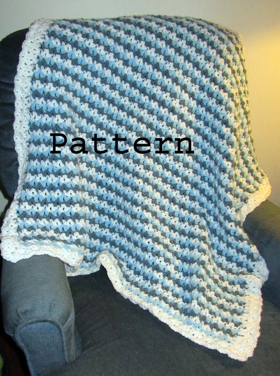 Crochet Pattern Tri Color Baby Or Lap Blanket Diy Easy Etsy