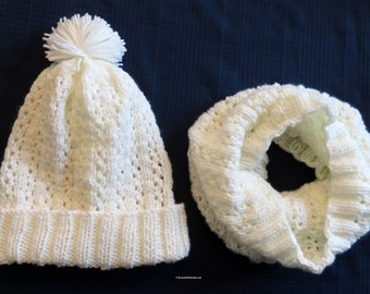 Knit Hat and Cowl Set Winter White - Unisex Soft Filigree Lace Infinity Cowl Hood and Matching Pom Pom Hat - Hand Made USA Item 5348