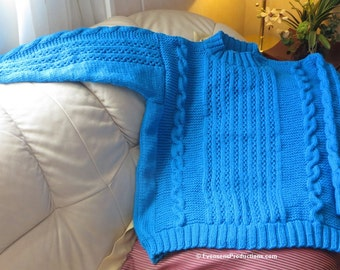 New Turquoise Hand Knit Cables Textured Sweater - Unisex Sweater - Peacock Blue Jumper - Adult Size 44 46 48 - Designed Made USA Item 4407