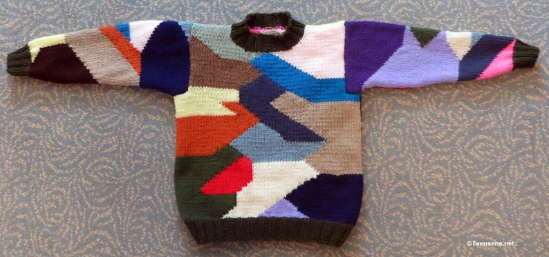New Patchwork Sweater  Child Size 10  Hand Knit Intarsia image 0