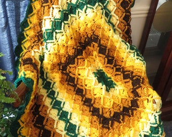 """New Highly Textured Blanket - Gold Brown Green Elegant Comfort - Large Chair Recliner Bed Crib - 46""""x46"""" -Hand Crocheted  Ohio USA Item 5588"""