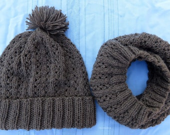Knit Hat and Cowl Set Soft Brown Heather - Unisex Soft Filigree Lace Infinity Cowl Hood and Matching Pom Pom Hat - Hand Made USA Item 5351