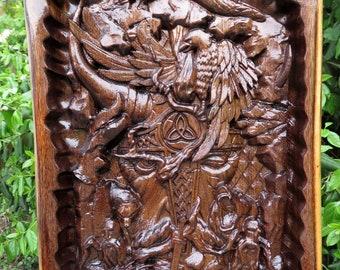 "Viking Saga Wall Art - Thick Heavy Walnut Wood - 3 Dimension Engraved Wall Decor - 18"" x 10"" x 2"" - Made USA Item 5377"