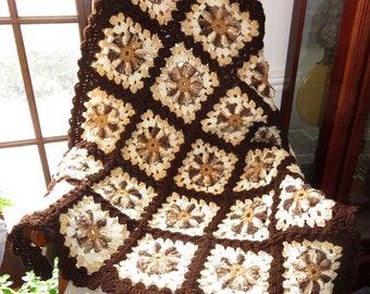 "New Lap Blanket - Warm Browns - Vanilla Chocolate Swirl Comfort - Chair Wheelchair Wedding Size 38""x38"" - Designed Hand Made USA Item 5567"