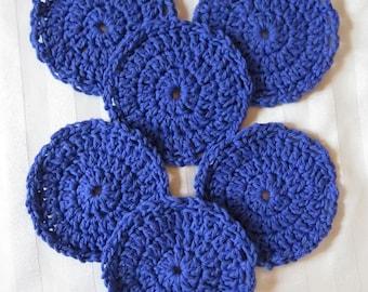 "Crochet Washable Drink Coasters - Purple - 4.5"" Set of Six - Scalloped Edge - Table Car Boat - Designed Hand Hamde Ohio USA Item 5628"