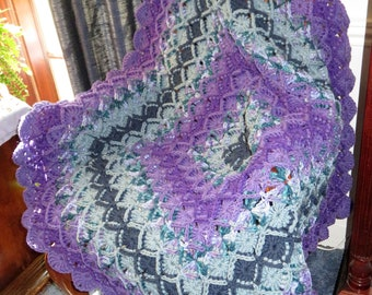 """New Highly Textured Blanket - Shades of Purple Teal Elegant Comfort - Chair Recliner Bed Crib - 42""""x42"""" -Hand Crocheted  Ohio USA Item 5605"""